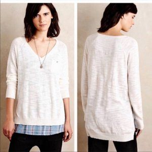 ANTHROPOLOGIE MOTH Layered Knit Plaid Sweater S